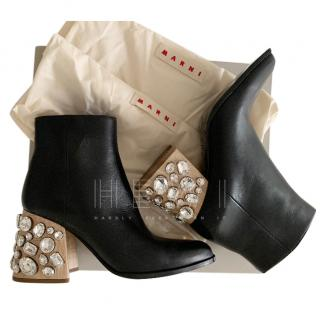 Marni Crystal Embellished Heel Black Ankle Boots