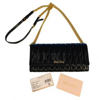 Miu Miu Black Matelasse Leather Shoulder Bag