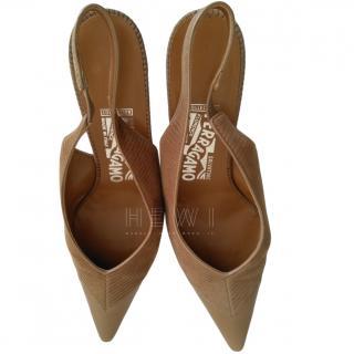 Salvatore Ferragamo Piuma Kiten Heel Slingback Sandals