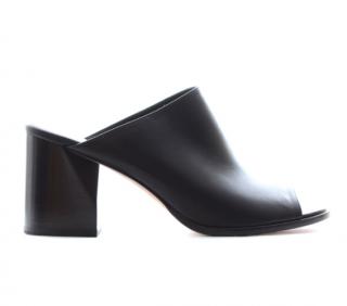Sportmax Black Leather Block Heeled Mules