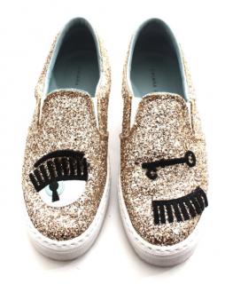 Chiara Ferragni Glitter Wink Slip-On Sneakers