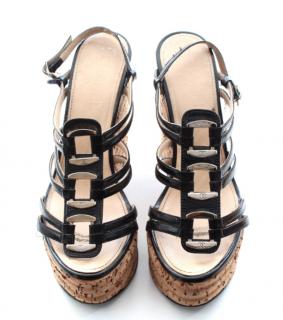 Chanel Strappy Cork Wedge Sandals