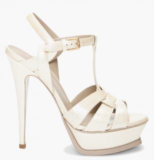 Saint Laurent Ivory Patent Tribute Sandals