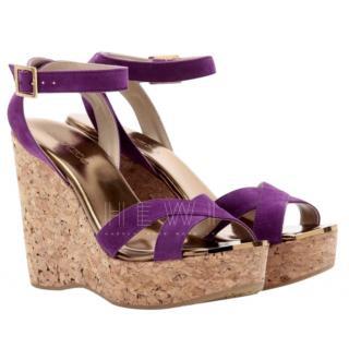Jimmy Choo Purple Papyrus Wedge Sandals
