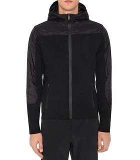 Prada Hooded Zip-up Wool Knit & Nylon Jacket