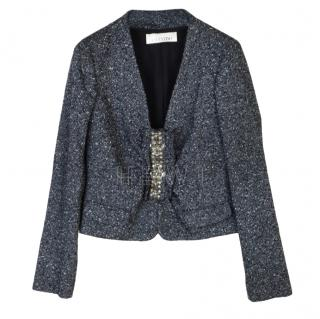 Valentino Cropped Wool Blend Embellished Jacket