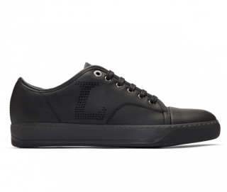 Lanvin Black Leather Perforated Low Top Sneakers