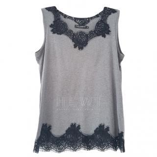 Dolce & Gabbana Grey Vest with Black Lace Trim
