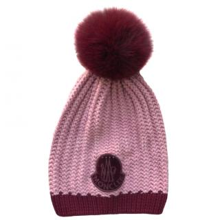 Moncler pink virgin wool fox fur bobble hat