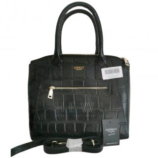 Osprey London black Leather Croc Moc Bag
