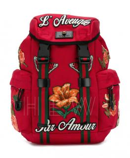 Gucci Red Techno Nylon Floral Embroidered Backpack