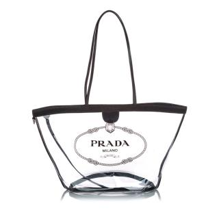 Prada Canapa Transparent Tote Bag