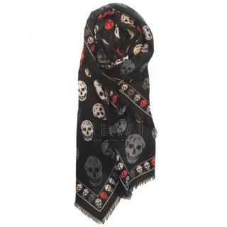 Alexander McQueen Skull Print Wool Blend Scarf