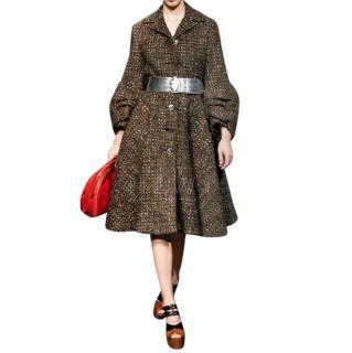 Prada Brown Tweed Runway Coat With Gathered Cuffs
