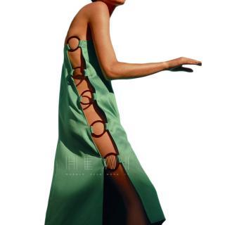 Adriana Degreas Emerald Hoop Closure Crepe Midi Dress