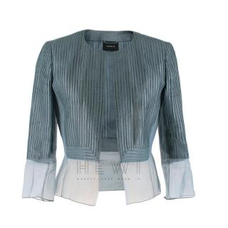 Akris Leather Organza Trim Jacket