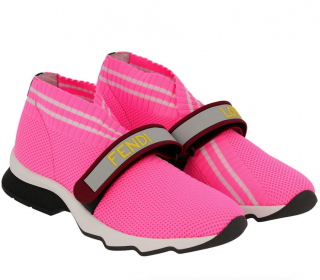 Fendi neon pink velcro sneakers