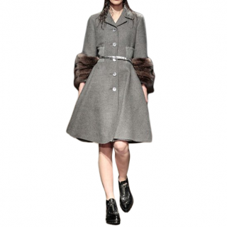 Prada Grey Fitted Wool Coat With Fisher Fur Cuffs