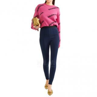 Balenciaga Navy Stretch-knit skinny pants