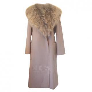 Max Mara Lilac Wool Coat W/ Faux Fur Collar