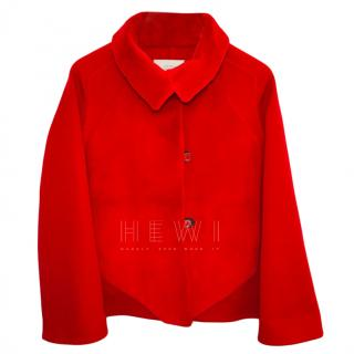 Hermes Red Cashmere & Mink Fur Jacket