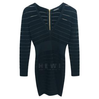 Balmain Fitted Sheer Striped Dress