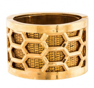Kara Ross Gold Tone Honeycomb Snakeskin Embossed Bangle