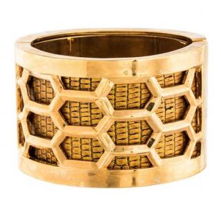 Kara Ross Gold Tone Honeycomb Snakeskin Embossed Bangle