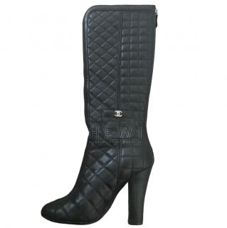 Chanel Black Quilted Leather Knee Boots