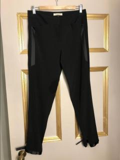 Halston Black Ankle-Tie Gabardine Tuxedo Pants