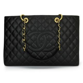 Chanel Black Caviar Leather XL Grand Shopping Tote