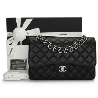 Chanel Black Quilted Leather Jumbo Double Flap