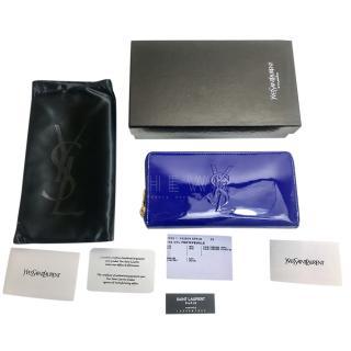 Saint Laurent Blue Patent Belle De Jour Zip Around Wallet