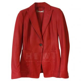 Max Mara Red Nappa Leather Jacket