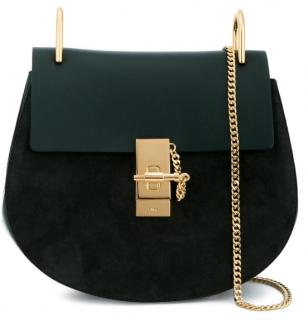 Chloe Intense Green Suede & Leather Drew Bag