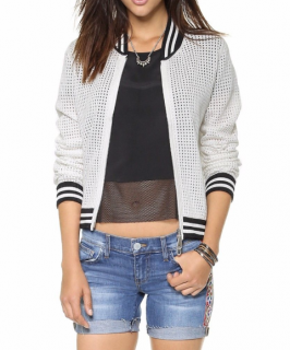 Rebecca Minkoff Mesh Knit Bomber Jacket