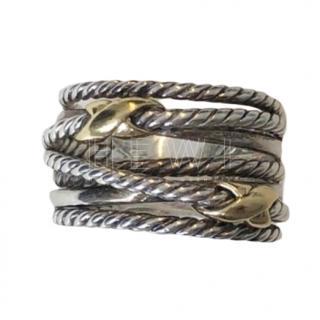 David Yurman Twisted Silver & Gold Ring