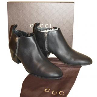 Gucci Black Low Block Heel Ankle Boots