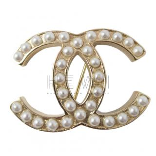 Chanel Gold Tone Faux Pearl CC Brooch