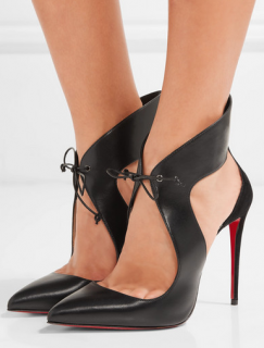 Christian Louboutin Ferme Rouge 100 cutout leather and suede pumps
