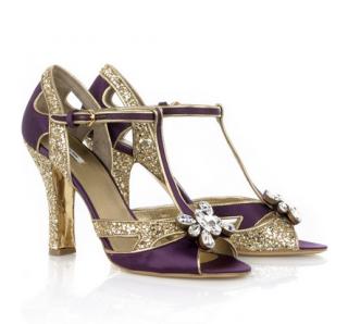 Miu Miu Purple Glitter T-bar Sandals