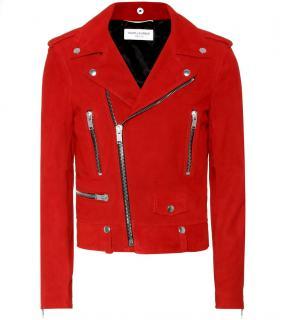 Saint Laurent Red Classic Suede Moto Jacket