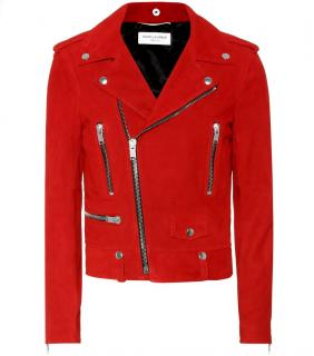 Saint Laurent Red Classic Suede Moto Jacket