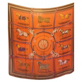 Hermes Orange Vintage Silk Scarf 90