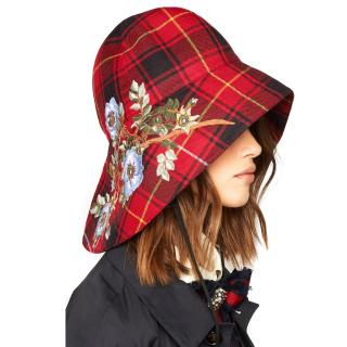 Gucci Iris embroidered checked wool hat