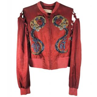 Emilio Pucci Embroidered Dragon Silk Bomber Jacket