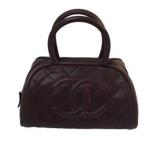 Chanel Brown Leather CC Top Handle Bag