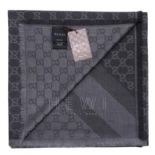 Gucci Monogram Silk & Wool Scarf