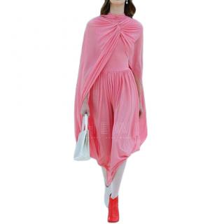 Celine Bubblegum Pink Draped Cape Dress