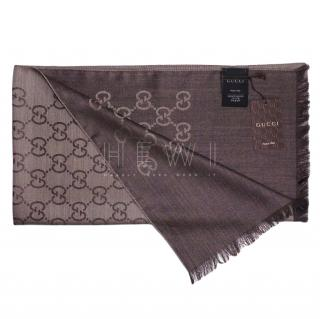 Gucci Brown Silk & Wool Monogram Scarf